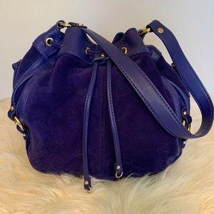 Tignanello Royal Blue Leather & Suede Bucket Bag